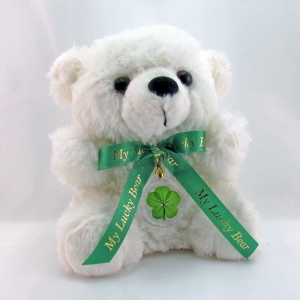 5 Leaf Clover White Lucky Teddy Bear