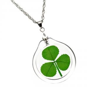 Shamrock (3 leaf clover) Acrylic Charm Necklace