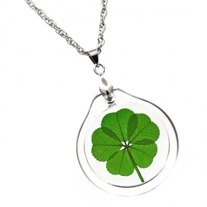 5 Leaf Clover Acrylic Charm Necklace