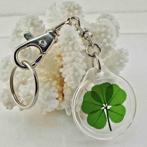Five Leaf Clover Acrylic Charm Keychain