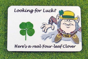 four leaf clover looking for luck wallet card