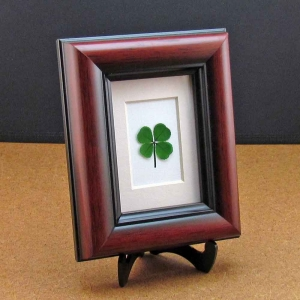 Personalized 4-leaf Clover Mahogany Frame