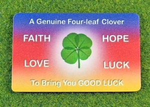 four leaf clover rainbow wallet card