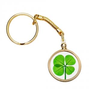 Four Leaf Clover Gold Charm Keychain