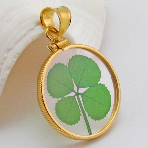 Gold Filled Real Four Leaf Clover Pendant