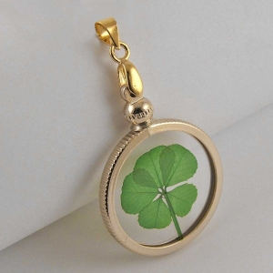 5 Leaf Clover Gold Plated Charm Pendant
