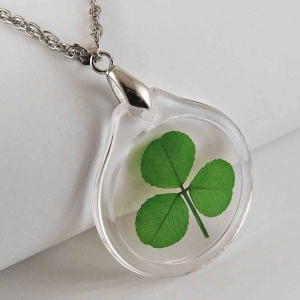 Shamrock (3 leaf clover) Acrylic Charm Necklace