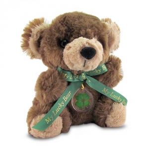 Brown Lucky Teddy Bear with a Four Leaf Clover