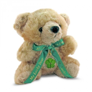 Honey Lucky Teddy Bear with a Four Leaf Clover
