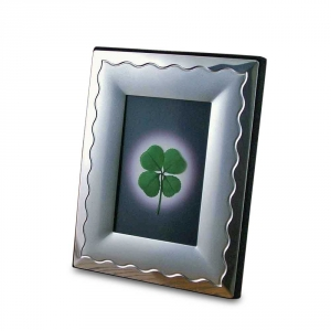 Two-Tone Silver Frame with a Four Leaf Clover