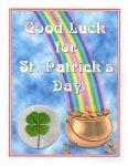 st patrick 4 leaf clover greeting card