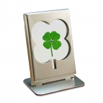 Four Leaf Clover Stainless and Glass Frame