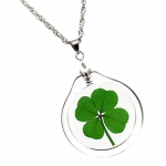 Four Leaf Clover Acrylic Charm Necklace