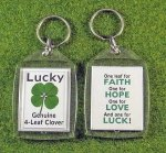 four leaf clover good luck key tag
