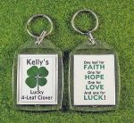 four leaf clover personalized good luck key tag