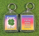 four leaf clover rainbow key tag