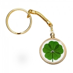Five Leaf Clover Gold Charm Keychain