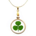 Shamrock (3 leaf clover) Gold Charm Necklace