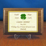 Personalized 4-leaf Clover Walnut Plaque