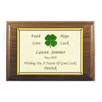 Personalized Four Leaf Clover Walnut Plaque