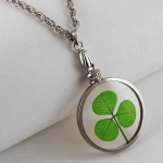 Shamrock (3 leaf clover) Silver Charm Necklace