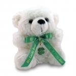 White Lucky Teddy Bear with a Four Leaf Clover