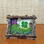 Tree Branch Frame with a Genuine Four Leaf Clover
