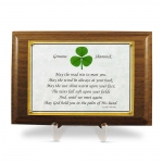 Walnut Plaque with a Genuine Shamrock and Irish Blessing