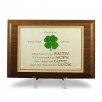 Four Leaf Clover Walnut Plaque