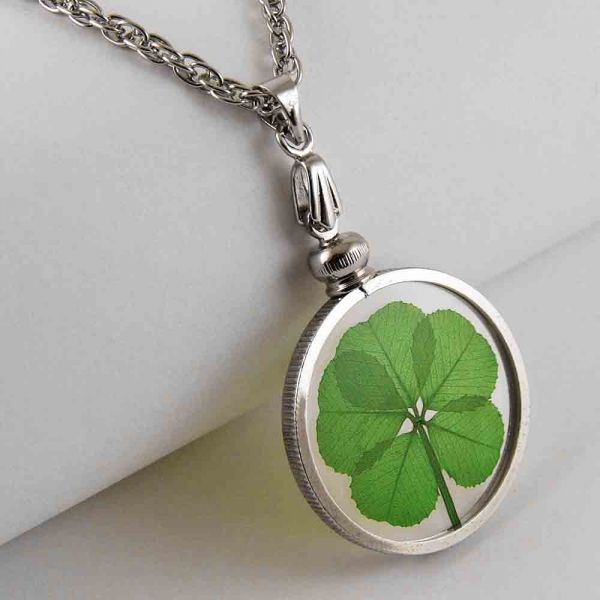 Real 5 Leaf Clover Silver Charm Necklace