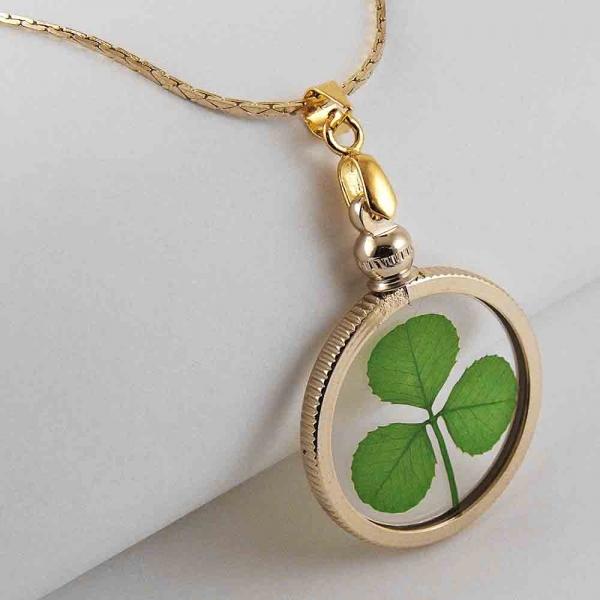 Real shamrock gold charm necklace shamrock 3 leaf clover gold charm necklace aloadofball Images