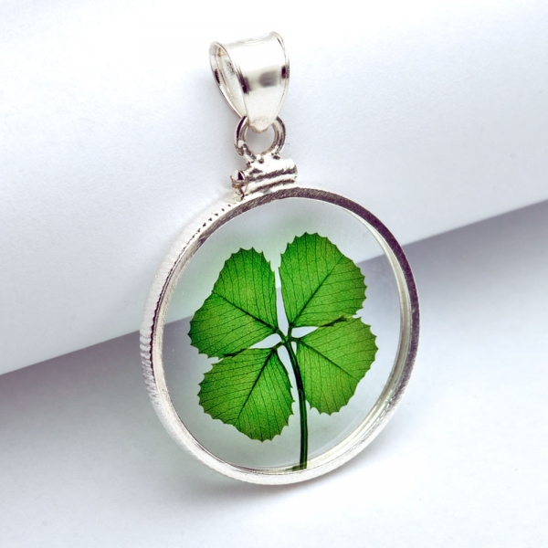 Good luck four leaf clover sterling silver pendant sterling silver real four leaf clover pendant mozeypictures Image collections
